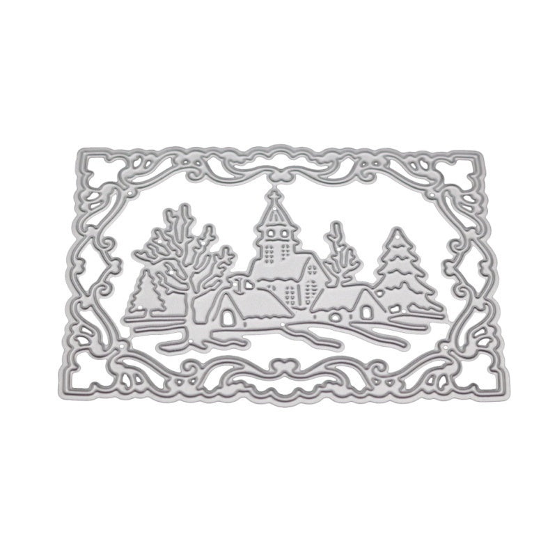 Snowy Day Pattern DIY Etched Carbon Steel Cutting Dies for Scrapbooking Tool