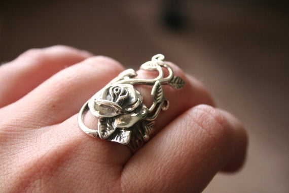 925 Sterling Silver Rose Flower Leaf Vine Design Ring Wedding Floral Rings for Women Gifts Antique Jewelry Size  7 8 9 10 11