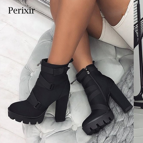 2019 New Fashion Spring Autumn Platform Ankle Boots Women 12cm Thick Heel Platform Boots Ladies Worker Boots Black Big Size 41