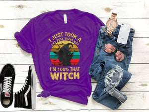 Women's Fashion Short Sleeve Round Neck Letters Print I Just Took A DNA Test Turns Out I'm 100% That Witch Hocus Pocus Fall Halloween T-shirt
