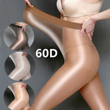 Load image into Gallery viewer, 1PCS  Super Elastic US and Europe Big Size Women 60 Deniers Oil Shine High Waist Tights Glitter Dance Reflective Pantyhose