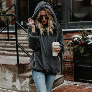 Women Winter Warm Plush Pullovers Hoodies Plus Size Sweater Loose Casual Solid Color Soft Fluffy Hooded Jacket S-5XL
