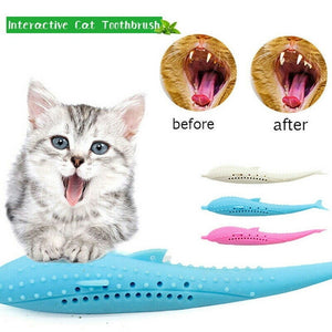 Pet Toys Catnip Toy Silicone  Fish Cat Toothbrush Molar Stick Teeth Cleaning Toys