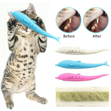 Load image into Gallery viewer, Pet Toys Catnip Toy Silicone  Fish Cat Toothbrush Molar Stick Teeth Cleaning Toys