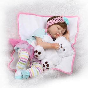 22 Inch 55cm Sleeping Reborn Baby Doll Soft Silicone Realistic Baby Doll Toddler Doll Toy