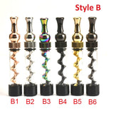 Universal Mouth Mini Twisty Dry Herb Vape Glass Cigarette Lighter Mini Spiral Vape Pipe With Cleasing Set