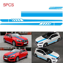 Load image into Gallery viewer, 5Pcs  Side Skirt Mirror Body Hood Vinyl Racing Stripe Decals  Car Sticker For Car Universal