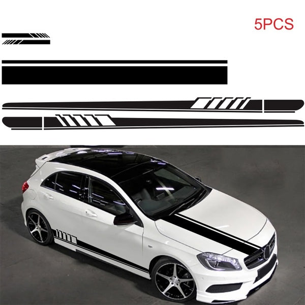 5Pcs  Side Skirt Mirror Body Hood Vinyl Racing Stripe Decals  Car Sticker For Car Universal