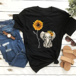 Fashion Women Girls Short Sleeves Cute Elephant Sunflower Graphic Printed Casual T Shirts Tee Tops S-XXXL