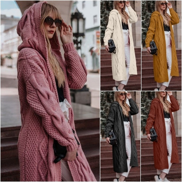 Women Long Cardigan Hooded Sweater Overcoat Autumn Fashion Sweater Long Jackets Plus Size S-5XL