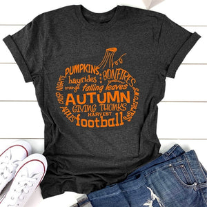 Pumpkin Word Art T-Shirt, Wordy Pumpkin Shirt, Autumn Words T-Shirt, Pumpkin T-Shirt, Fall T-Shirt, Halloween Shirt,