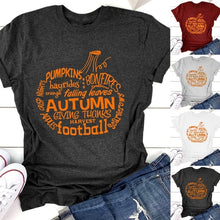 Load image into Gallery viewer, Pumpkin Word Art T-Shirt, Wordy Pumpkin Shirt, Autumn Words T-Shirt, Pumpkin T-Shirt, Fall T-Shirt, Halloween Shirt,