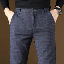 Load image into Gallery viewer, Men's Casual Long Plaid Slim Business Pants