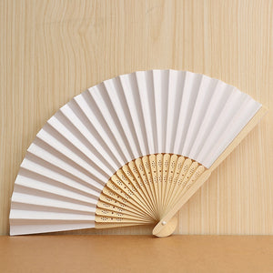 30Pcs Carving Craft Vintage Chinese Paper Fans Bamboo Hand Held Folding Fans for Wedding, Party, DIY Decoration