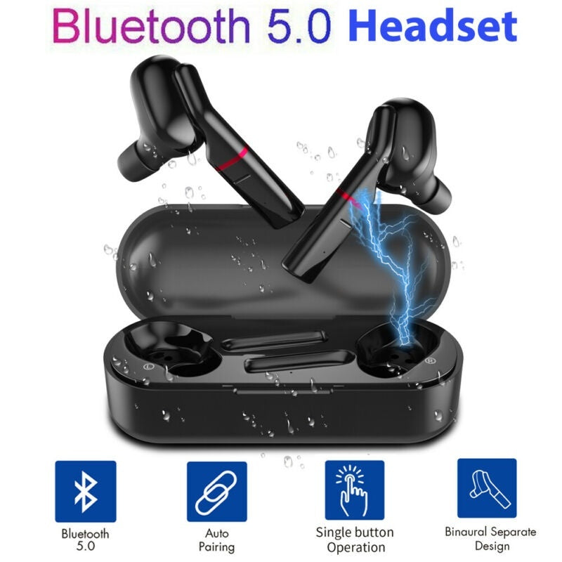[Bluetooth5.0, 8D Surround]TWS Bluetooth Earbuds Waterproof Wireless Sport Headset Stereo Noise Cancelling Headphone Touch Control Bluetooth Earphones with Charging Case for Iphone Huawei Android Smartphone