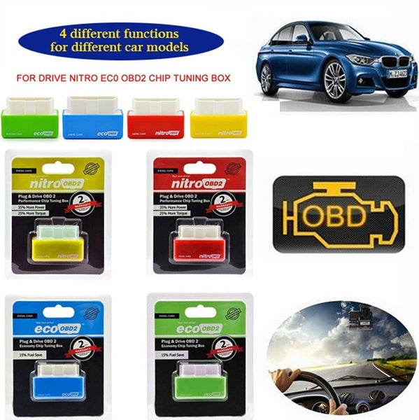 Auto Fuel Saver Eco/Nitro OBD2 Chip Tuning Box Plug & Drive for Benzine/Diesel Car
