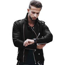 Load image into Gallery viewer, 2019 Autumn Men's Coat High Collar Splicing Pu Leather Jacket Coat