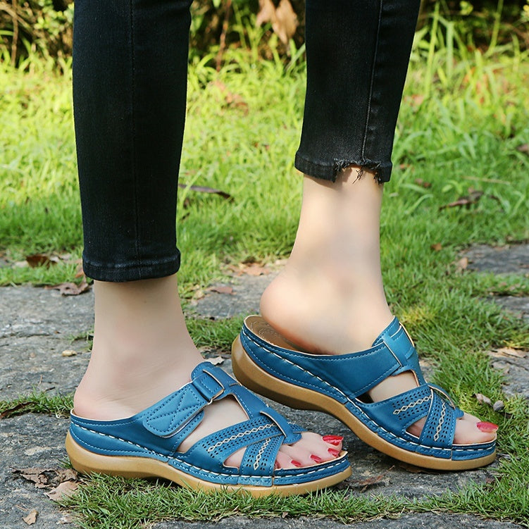 2019 New Summer Women Comfortable Slippers Female Vintage Sandals Slip on Wedges Shoes Buckle Strap Ladies Slides Home Beach Plus Size