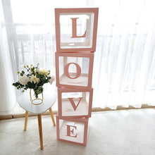 Load image into Gallery viewer, 4/1pcs/set Cube Letter Transparent Box Latex Balloon BABY/LOVE Blocks for Boy Girl Baby Shower Wedding Birthday Party Decoration Backdrop (without balloons)+4PCSLED String Light(optional)
