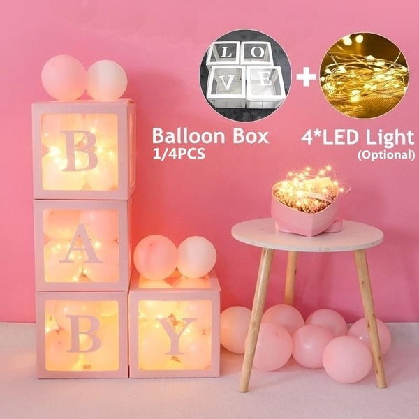 4/1pcs/set Cube Letter Transparent Box Latex Balloon BABY/LOVE Blocks for Boy Girl Baby Shower Wedding Birthday Party Decoration Backdrop (without balloons)+4PCSLED String Light(optional)