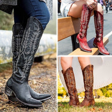 Load image into Gallery viewer, Women Knee High Boots Medieval Western Cowgirl Boots Vintage Tall Boots 35-43