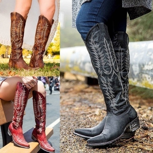 Women Knee High Boots Medieval Western Cowgirl Boots Vintage Tall Boots 35-43
