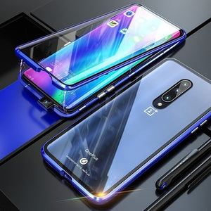 OnePlus 7 Pro 6 6T 360 Magnetic Adsorption Metal Double-sided Tempered Glass Case For Xiaomi Redmi Note 7 Pro K20 Pro 7A Mi A3 CC9E CC9 9T 9 SE 9 Explorer 6X A2 8 Pocophone F1