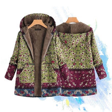 Load image into Gallery viewer, Artsy  Women's Leaves Floral Print Fluffy Fur Hooded Coat Winter Female Long Sleeve Vintage Coats Manteaux Dames Veste Femme Plus Size