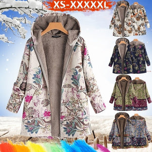 Artsy  Women's Leaves Floral Print Fluffy Fur Hooded Coat Winter Female Long Sleeve Vintage Coats Manteaux Dames Veste Femme Plus Size