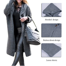 Load image into Gallery viewer, Autumn Winter New Fashion Women Hooded Coat Lady Solid Color Coat Cashmere Cardigan Sweater Coat Thick Soft Windbreaker Jacket Long Overcoat Plus Size