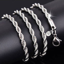 Load image into Gallery viewer, 3MM Sparkling Stamped 925 Sterling Silver Twisted Rope Chain Necklace (16-30 inches)