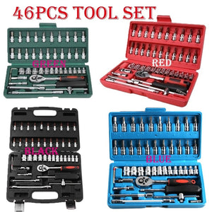 1/4 inch Screwdriver Ratchet Wrench Kit Car Repair Tools Combination Hand Tool (1PC Wrench Only or 46PC Tool Set Available)