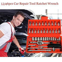 Load image into Gallery viewer, 1/4 inch Screwdriver Ratchet Wrench Kit Car Repair Tools Combination Hand Tool (1PC Wrench Only or 46PC Tool Set Available)