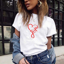 Load image into Gallery viewer, Women Fashion Short Sleeve White Black Tshirt Letter Print