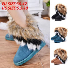 Load image into Gallery viewer, New Fashion Women's Autumn Winter Snow Boots Ankle Boots Warm Synthetic Fur Shoes Size 36-42