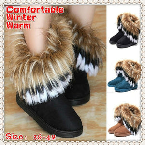 New Fashion Women's Autumn Winter Snow Boots Ankle Boots Warm Synthetic Fur Shoes Size 36-42