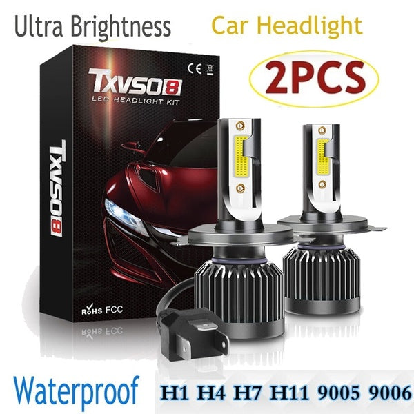 2PCS Super Bright IP68 Waterproof Led Headlights Conversion Kits Hi/Lo Beam Car Headlight Bulbs H7 H4 H8/H9/H11 H1 9005 HB3 9006 HB4 9012 Driving Bulbs
