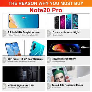 6.7 Inch Note20 Smartphones Large Memory 6+128GB Ultra-thin with Face UnLock Cellphone Dual SIM Cards Phone Support T Card  Unlocked Smartphone 4G Network
