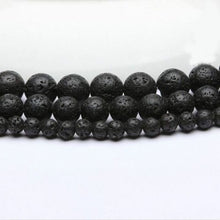 Load image into Gallery viewer, Black Volcanic Natural Lava Gemstone For DIY Jewellery Making Spacer Loose Round Beads 15.5' 4mm 6mm 8mm 10mm 12mm 14mm
