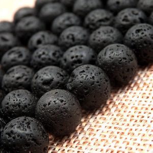 Black Volcanic Natural Lava Gemstone For DIY Jewellery Making Spacer Loose Round Beads 15.5' 4mm 6mm 8mm 10mm 12mm 14mm