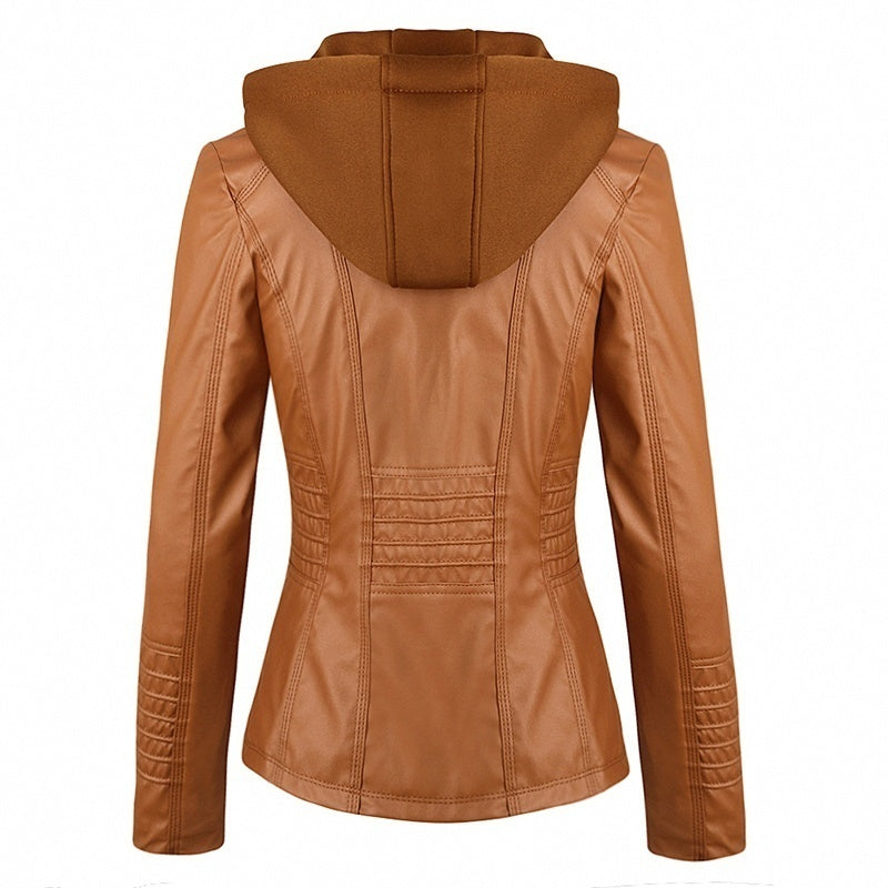 5 Colors Women Fashion Long Sleeve Zipper Leather Jackets Removable Hooded Coat Ladies Plus Size Cool Motorcycle Coat Outwear