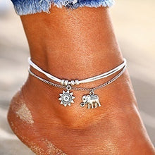 Load image into Gallery viewer, Crystal Sequins Anklet Set for Women Beach Foot Jewelry Vintage Statement Elephant Moon Chain Charm Anklets Bracelet Boho Retro Style Party Summer Alloy Jewelry