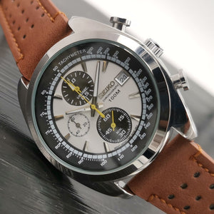 Men Luxury Automatic Quatz Watches Classic Leather Strap Wrist Watch with Gift Box