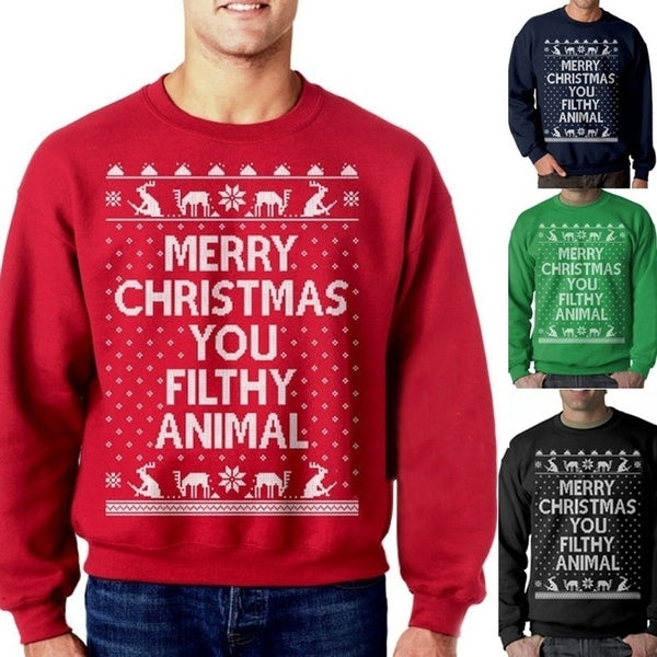 Men Fashion New Santa Claus Christmas Patterned Sweater Ugly Christmas Sweaters Tops Men Winter Long Sleeve Pullovers Tops