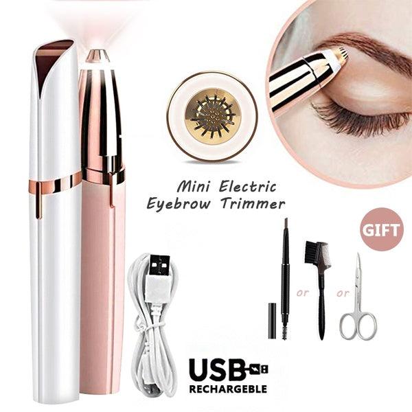 Portable Lipstick Shape Electric Mini Eyebrow Trimmer Epilators Face Eyebrows Removal Razor Shaving Nose Hair Remover Epilator Shaver Knife Machine Women with Light (Battery Not Included)