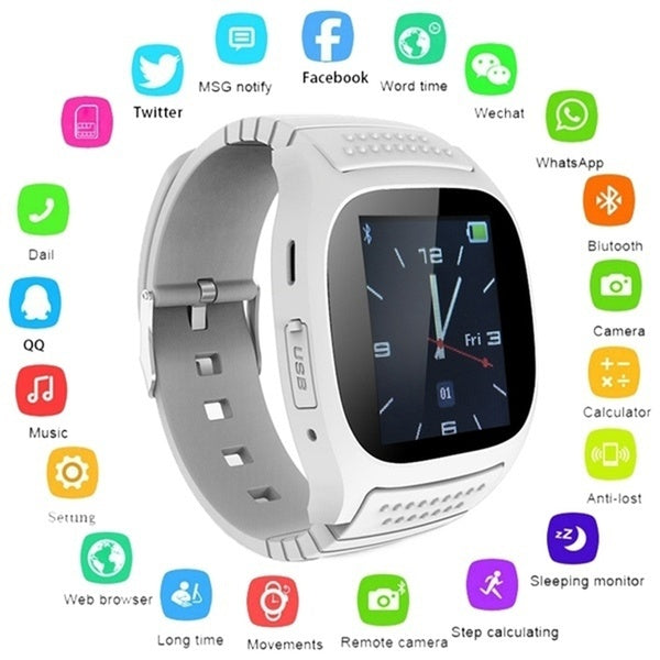 Waterproof Smartwatch M26 Bluetooth Smart Watch With LED Alitmeter Music Player Pedometer For Smart Phone