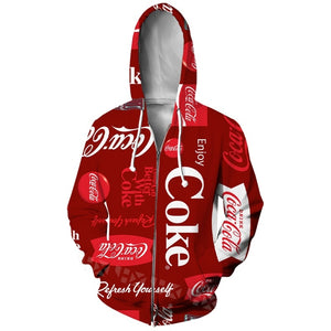 Fashion Coca Cola Spring and Autumn Clothing Zip Hoodie 3D Printing Unisex Casual Lipstick Zip Hoodie Tops