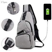 Load image into Gallery viewer, Women Men Canvas Bag Sport Chest Pack USB Charging Crossbody Shoulder Bag