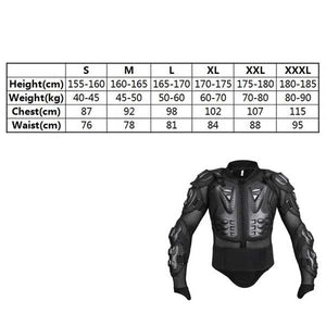 Motorcycle Full Body Armor Shirt Jacket Back Shoulder Protect Gear XS-XXXL