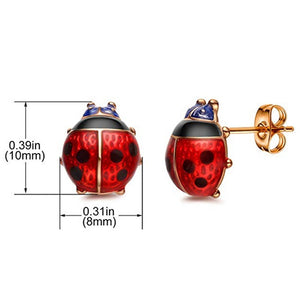 Stud Earrings Red Ladybug Black Spots  Gold Plated  Post Stud Ladybird Earrings Jewelry Accessories for Women and Girl